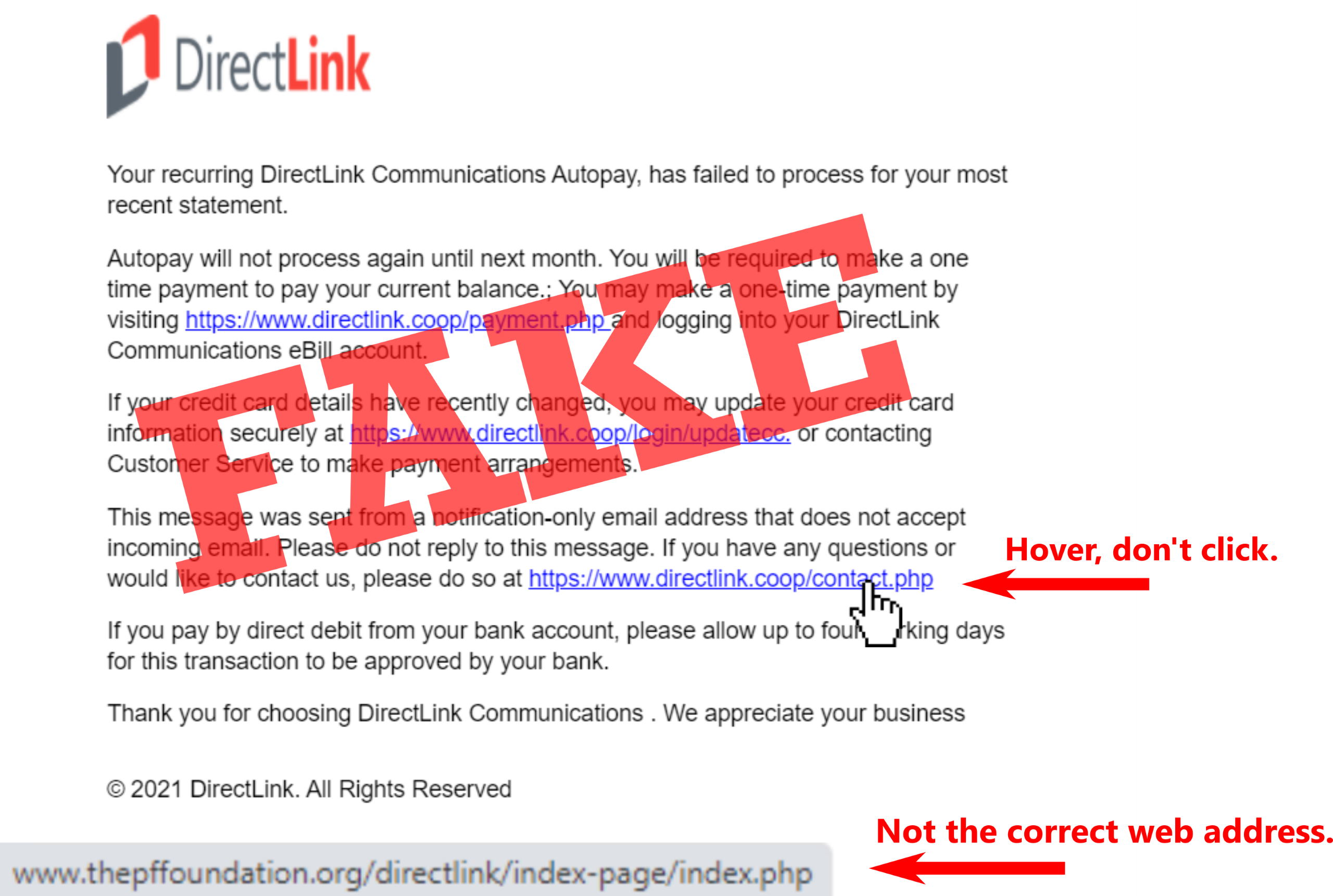 SCAM ALERT: Fake Email Targeting DirectLink Members' Payment Information
